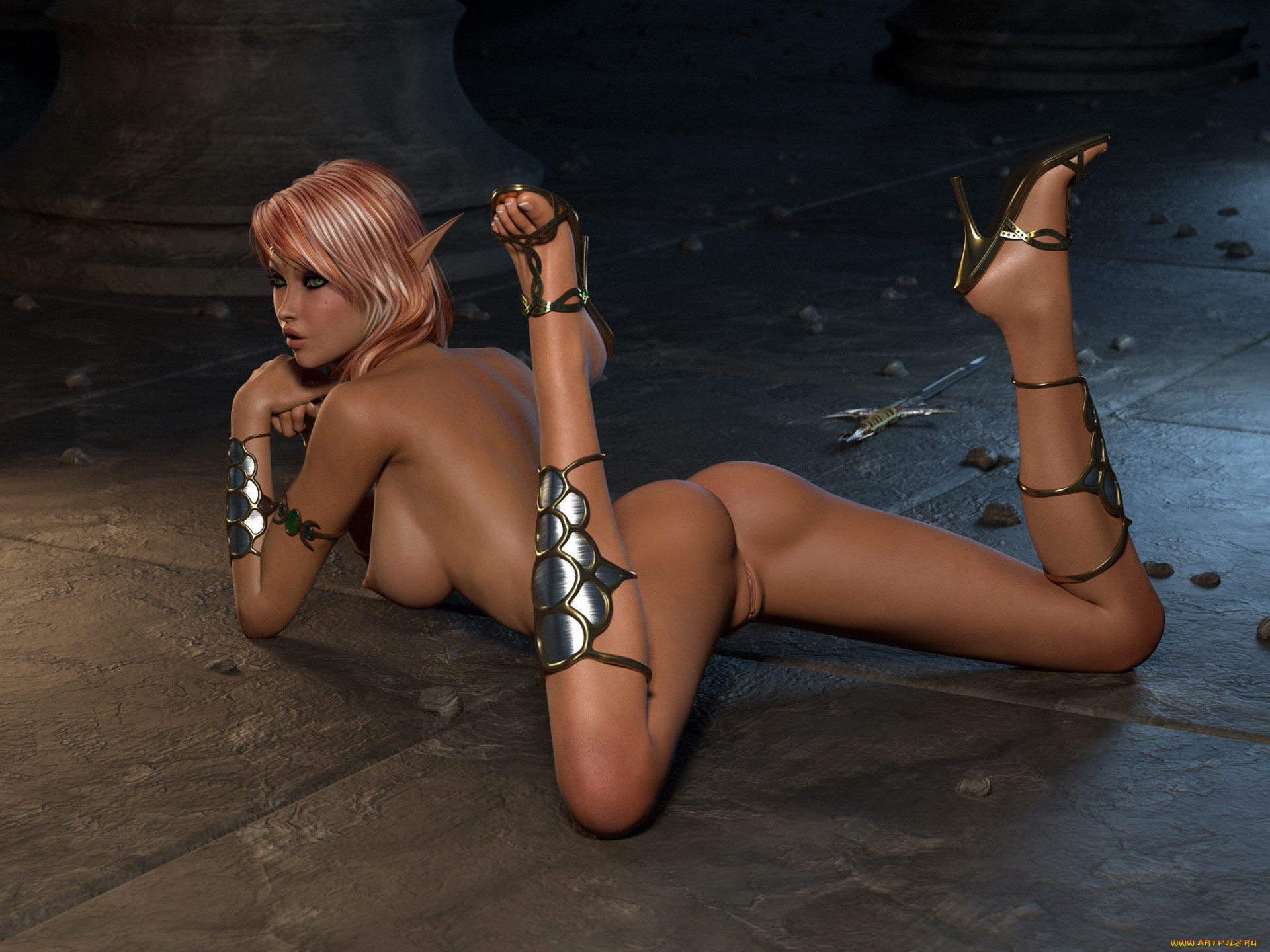 Nude 3d elf drawing nude scene
